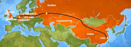 中国―ヨーロッパ間 コンテナ輸送地図