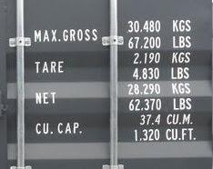 コンテナ販売のDAX 20フィート ハイキューブ 表記